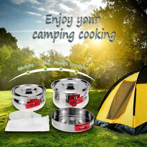 Ligero y compacto Cookware al aire libre Camping senderismo mochila Picnic pote recipiente vapor juego de cocina