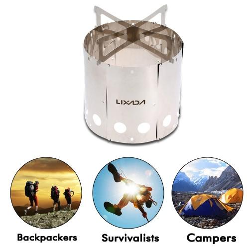 Lixada Portable Edelstahl leichtes Holz Herd im freien Camping Picknick Rucksack Herd Kochen
