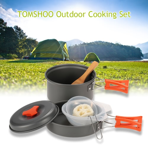 TOMSHOO escursione di campeggio esterna Cookware Backpacking cucina Picnic Pot Set Cook Set