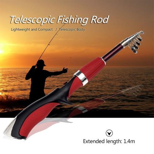 1.4m Mini caña de pescar telescópica plegable Rod poste de pescar portátil caña de pescar trastos