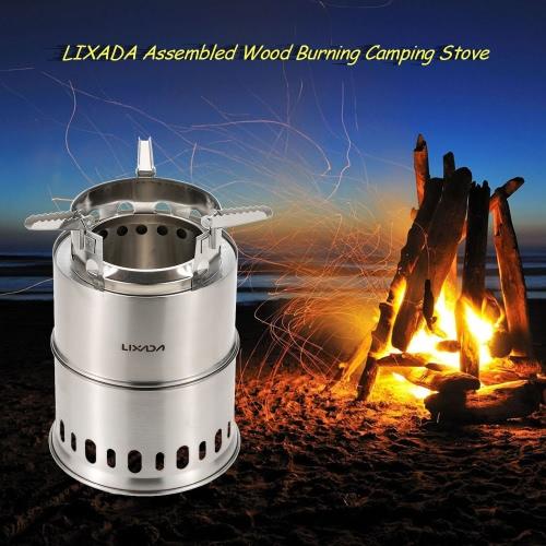 Lixada potable del acero inoxidable estufa de leña que acampa del horno quemador de la estufa Montado