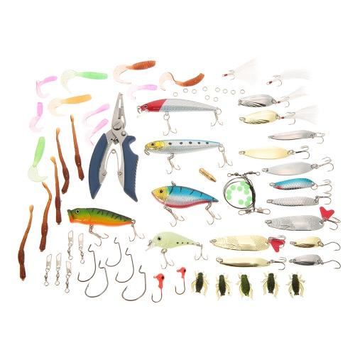 Lixada 101PCS Fishing Lures Tackle Mixed Hard Baits Soft Baits Popper Crankbait VIB Topwater Floating Fishing Lures Hooks Fishing Accessories Kit Set with Storage Box