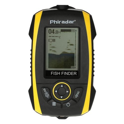Pesce portatile Schermo mirino LCD sensore del sonar trasduttore Fishfinder allarme pesce di profondità Indicatore pesca cercatore di pesca esterna elettronico, Attrezzatura