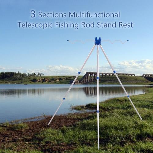 3 Sektionen Multifunktionale tragbaren Teleskop Angelrute Standfuss Sea Fishing Tripod Rutenhalter Sea Beach Coarse Shore Pier Tackle