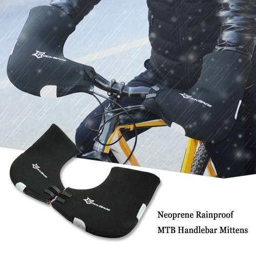 ROCKBROS неопрена непромокаемые Зима Unisex MTB Мотор Велоспорт Руль Bar End варежки перчатки Руки Горные велосипед Руки грелки Hand Covers