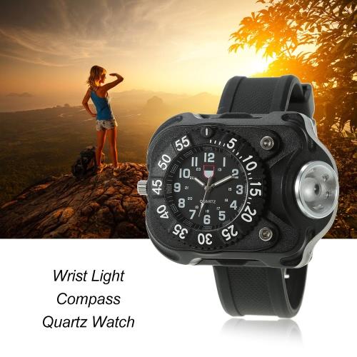 Multifunktionale wiederaufladbare 200 Lumen LED-Taschenlampe Handgelenk Licht Wasser-beständige Uhr Taschenlampe mit Kompass Tactical Taschenlampen für Outdoor Laufen Wandern Camping Radfahren Bergsteigen
