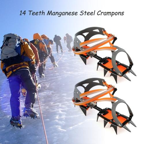 14 punti di manganese in acciaio Attrezzo rampicante ramponi Ice Pinze Crampon Estricatore Alpinismo Ghiacciaio di viaggio Ice Walking
