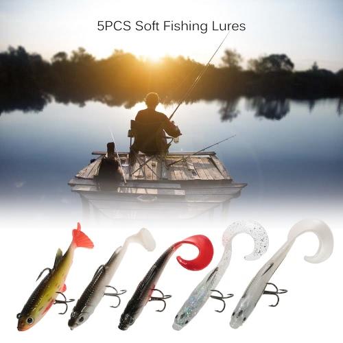 5Pcs Soft Свинцовые Fish Set Kit глаза 3D Мягкие рыболовные приманки Приманки с хвостами и тройниками