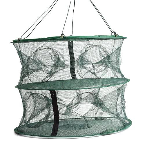 55 * 45cm plegable de doble capa de 12 entradas trampa para peces de pesca de langosta Mantenga jaula de red del cangrejo de río acoplamiento de la red de la jaula
