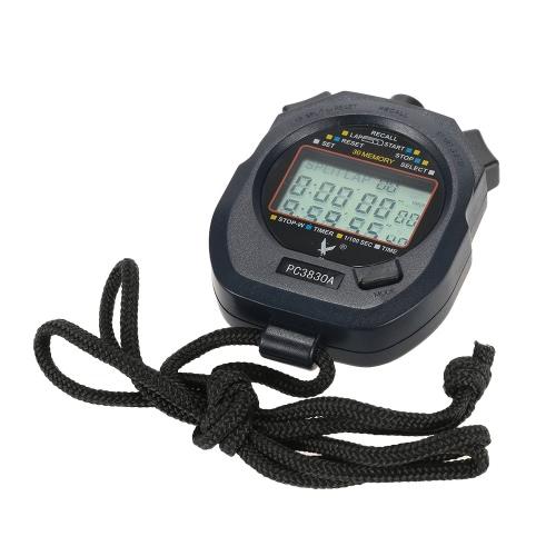 LCD digital de mano Profesional cronógrafo deportivo Cronómetro Temporizador Cronómetro