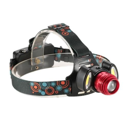 1500LM 3 LED Regolabile 90 ° Up-and-down Rotazione zoomable Head 4 Modalità luce Lampada a mano senza fari faro del faro per corsa in esecuzione Camping Caving Night Touring Tunnel Lighting Outdoor Adventure Multifunzionale