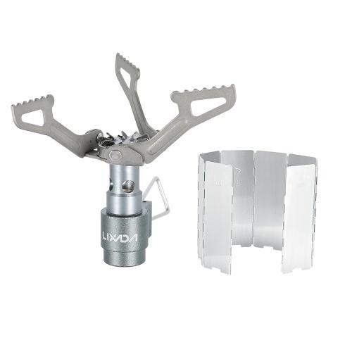 Lixada 25g Lightweight Mini Pocket Titanium Alloy Outdoor Cooking Burner Folding Camping Gas Stove