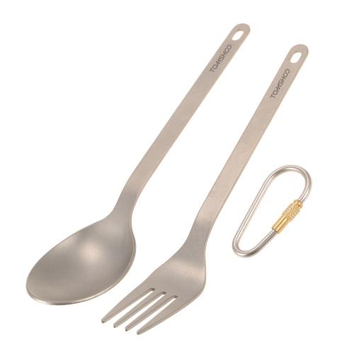 TOMSHOO Titanium Tableware Dinner Frok Posate per la casa da campeggio all'aperto