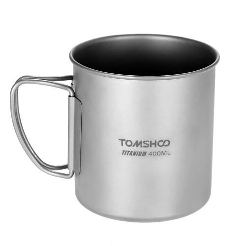 TOMSHOO 400 ml de Copa de Titanio al aire libre Camping Camping Picnic taza de la Copa con la manija plegable