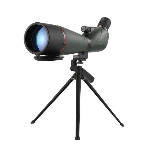Eyeskey 20-60x80 Angled Spotting Scope BaK4 Waterproof Fogproof Portable Travel Scope Monocular Telescope with Tripod Carry Case for Bird Watching Camping