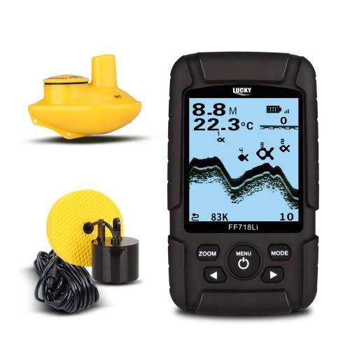 LUCKY FF718LiD Водонепроницаемый искатель рыбы 200KHz / 83KHz Двойная частота сонара Беспроводной сонар и проводной датчик обнаружения Многоязычный сигнализатор Fish Detector