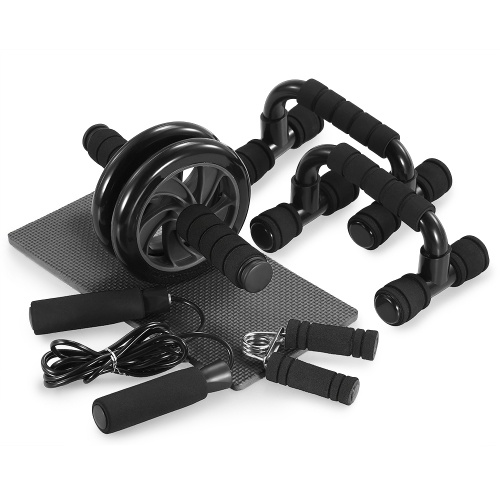 TOMSHOO 5-In-1 AB Wheel Roller Kit with Push-Up Bar Jump Rope Hand Gripper and Knee Pad Abdominal Core Carver Fitness Workout