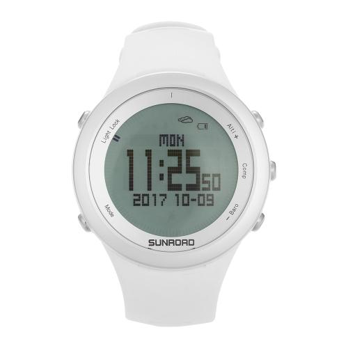 SUNROAD Bussola digitale / pedometro / Altimetro / Barometro / Previsione Meteo / Arrampicata in orologio da polso in movimento con banda in silicone