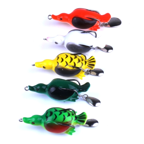 5PCS 13.4g / 7cm Topwater Simulazione Duck Lure con Cucchiaio Paillettes per Snakehead Soft Baits Fishing Tackle Box