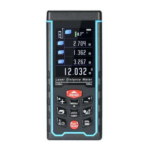 Misuratore di distanza laser digitale LCD mini portatile Misuratore di distanza di telemetro USB Area di misurazione del volume 100 Memoria dati di gruppi