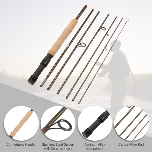 Fly Angelrute 7 Abschnitte Abnehmbare Portable Leichte Kohlefaser Angelrute 7.5ft / 2.3m mit Rod Case