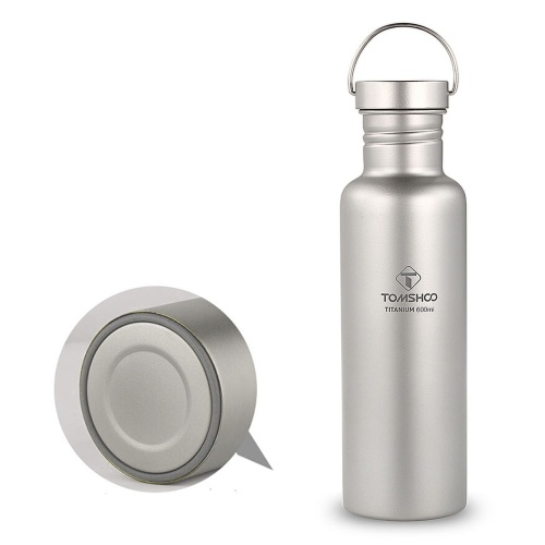 TOMSHOO 750ml Full Titanium Water Bottle with Extra Plastic Lid Ultralight Outdoor Camping Hiking Cycling Water Bottle