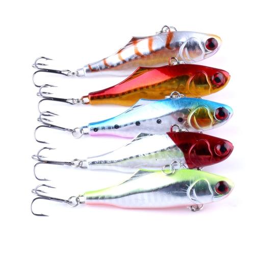 5PCS 9cm / 23g VIB Fishing Lures 3D Eyes Treble Hook Искусственные жесткие приманки Высокий имитация Swim Bait