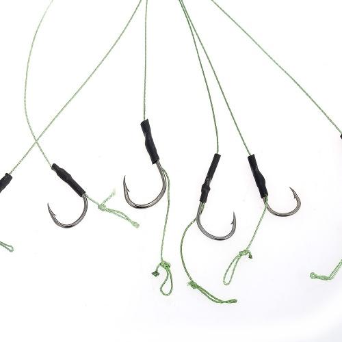 12 Stücke Geflochten Karpfenfischen Haar Rigs High Carbon Steel Haken Swivel Karpfen Rigs Zubehör