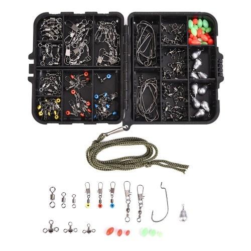 167 Stücke Assorted Karpfenangeln Zubehör Rolling Barrel Wirbel Haken Gewichtsenken Oval Perlen Haar Rig Terminal Tackle mit Box