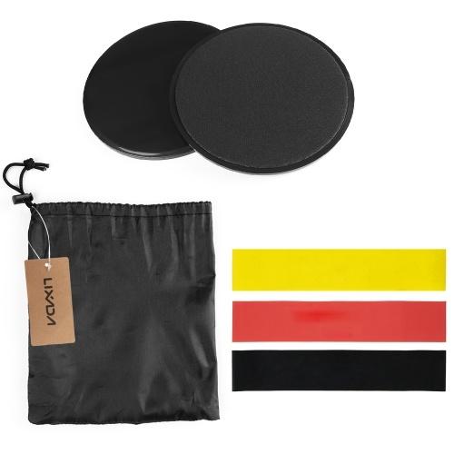 Lixada Workout Sliders Sliding Discs Resistance Loop Bands Attrezzature per il fitness leggero e portatile