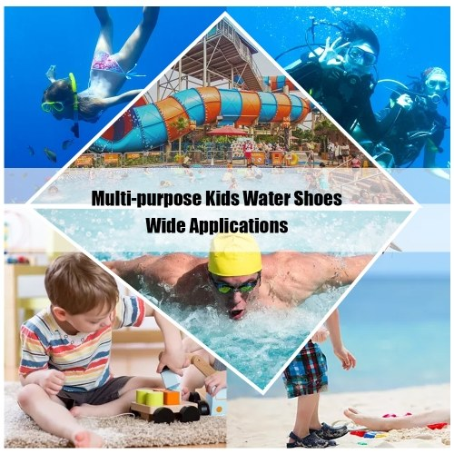 Kids Multi-purpose Outdoor Sports Swim Water Shoes Boys Girls Breathable Non-slip Quick-Dry Shoes for Beach Walking Swimming Surfing