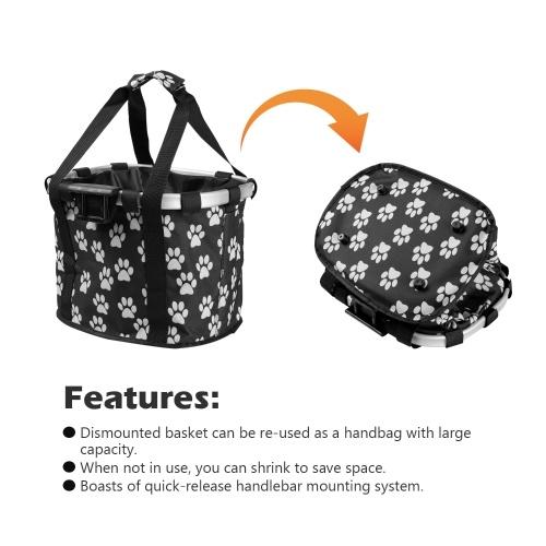 Bike Detachable Basket Bicycle Front Pet Bag Canvas Front Bag Aluminum Alloy Frame Pet Basket Image
