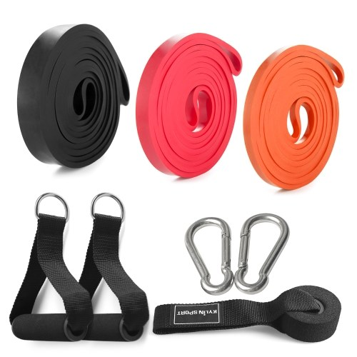 3 Packs Pull Up Assist Bands Set Resistance Loop Bands Powerlifting Workout Exercise Stretch Bands with Door Anchor Foam Handles Hooks and Carry Bag