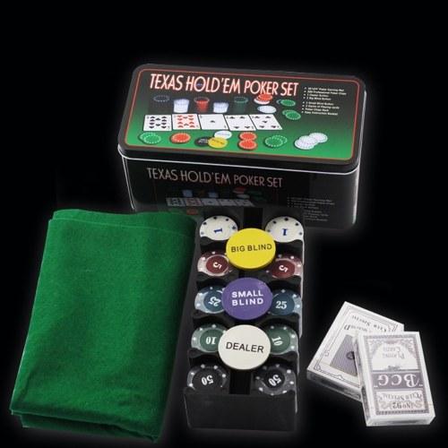 Professionelles Poker-Set Casino-Spiel 200 Poker Chips Spielmatte Button-Karte Texas Hold'em Poker Set