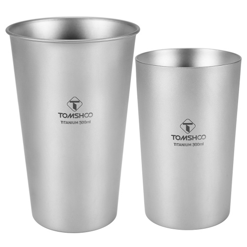 Titanium Single-Wall and Double-Wall Beer Cup Set 10oz 17oz