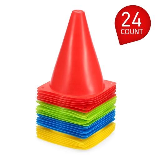 24 Pack 7 Zoll Kunststoff Sporttraining Verkehrskegel Raum Marker für Kinder Hause Fußballtraining Fußball 4 Farben