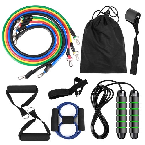 13pcs Resistance Bands Set Workout Fintess Exercise Tube Bands Jump Rope Door Anchor Ankle Straps Cushioned Handles 8-Shaped Resistance Band with Carry Bags for Home Gym Travel