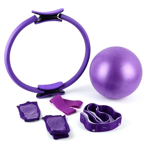 5pcs Yoga Exercise Set 16.5 Inch Pilates Ring Circle Pilates Ball Resistance Loop Band Stretch Strap Anti-skid Socks for Physical Therapists Athletic Trainers