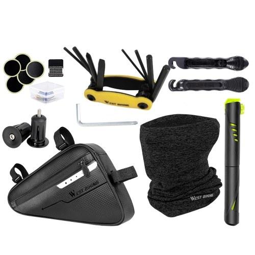 WEST BIKING Bicycle Bag Repair Tool Multi-function Suit Face Mask Tire Repair Kit Image