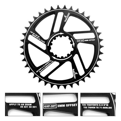 30/32/34/36/38/40 / 42T Mountainbike Kettenrad Fahrradkurbel Fahrrad Kreis Kurbelgarnitur Single Plate GXP