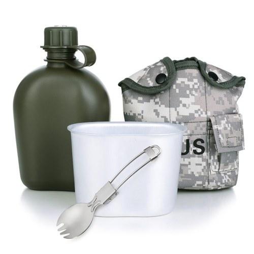 Открытый чайник, многофункциональная бутылка для воды, алюминиевая столовая, комплект с крышкой, ложка, вилка для кемпинга