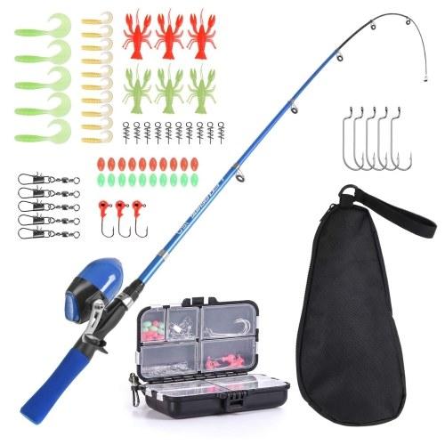 Детская удочка и катушка, полный комплект, телескопическая рыболовная удочка, 1,5 м, набор вращающихся катушек с крючками, приманки, шарниры для ствола, сумка для хранения