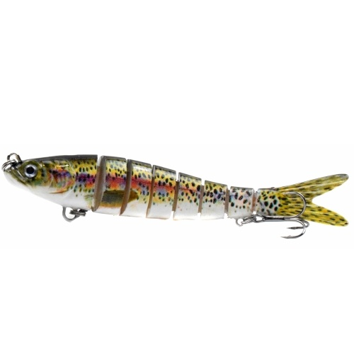 5.5in / 0.92oz Bionic Multi Jointed Hard Bait S Swimming Action Fishing Lure 8 Segment Sinking Fishing Lure VIB Bait Crankbait 3D Eyes Lifelike Artificial Fishing Lures Hook with Treble Hooks Tackle Image
