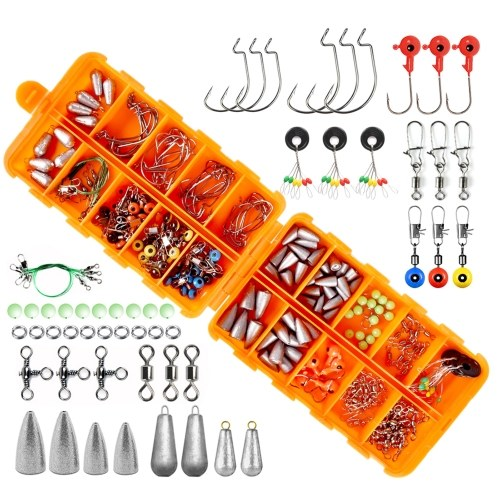 226pcs Fishing Accessories Kit Jig Hooks Bullet Bass Casting Weights Fishing Swivels Snaps Fishing Tackle Set with Tackle Box