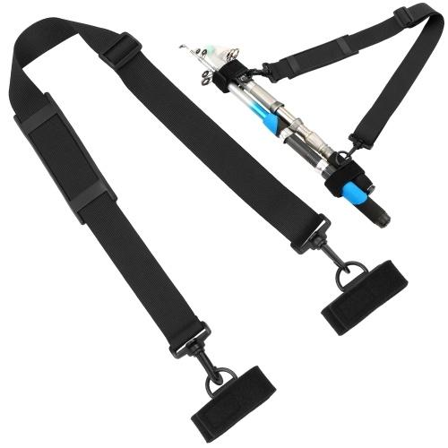 Fishing Rod Strap Belt Adjustable Fishing Rod Pole Holder Shoulder Belt Carry Strap Sling Band with 2 Fixing Strap Fishing Rod Tackle Image
