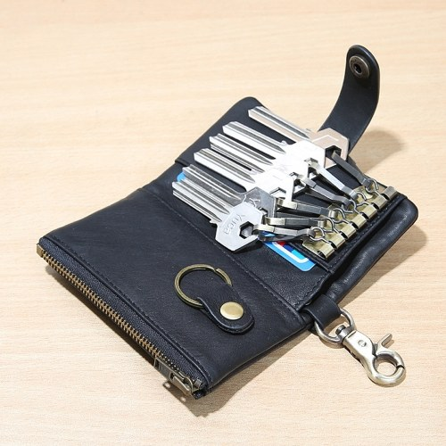 Abody Retro Leather Key Holder Men Women Key Wallet Organizer Pouch Car Keychain Housekeeper   Key Case Mini Card Bag Image