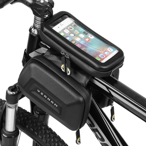 Touch Screen Bike Handlebar Bag Waterproof Front Frame Top Tube Bicycle Pouch Double Pannier Pack Large Capacity Image