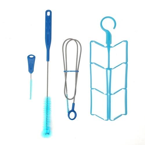 4 in 1 Wassersackreiniger-Set Universal-Wasserbehälter-Reinigungsset Flexible lange Bürste für Schlauch Kleine Bürste für Bissventil Große Bürste für Blasenhalter zum Trocknen