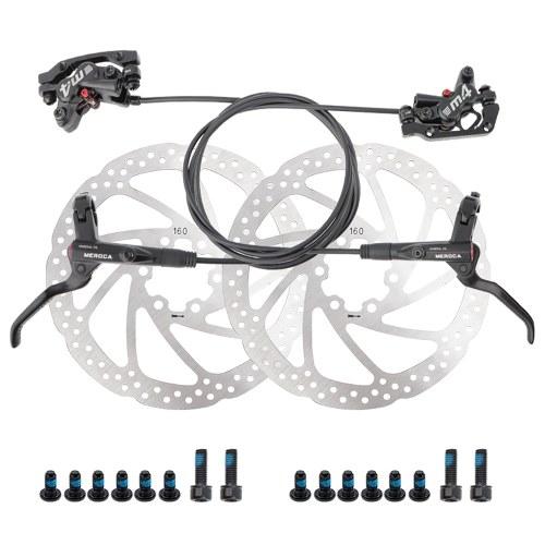 Pinza posteriore freno a disco idraulico MTB con 4 pistoni idraulici e sistema frenante a due vie 22,2 mm Kit leva freno sinistro per mountain bike ciclismo