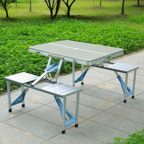 Wondrous Lixada Portable Aluminum Alloy Folding Table Chairs Set Outdoor Picnic Party Dining Camping 4 Person Download Free Architecture Designs Scobabritishbridgeorg